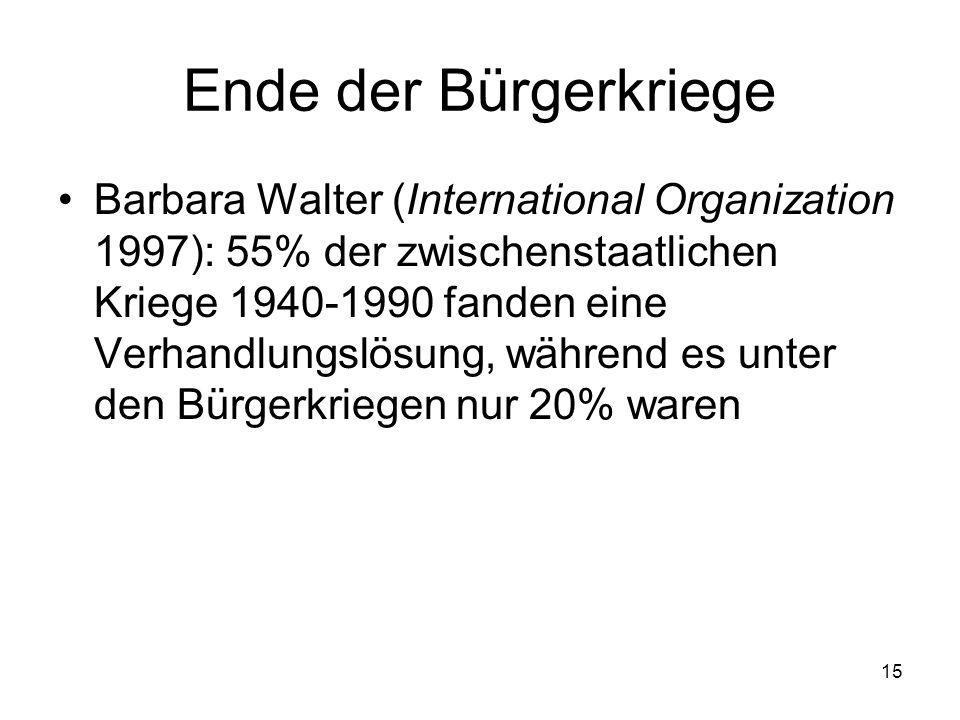 15 Ende der Bürgerkriege Barbara Walter (International Organization 1997): 55% der zwischenstaatlichen Kriege 1940-1990 fanden eine Verhandlungslösung