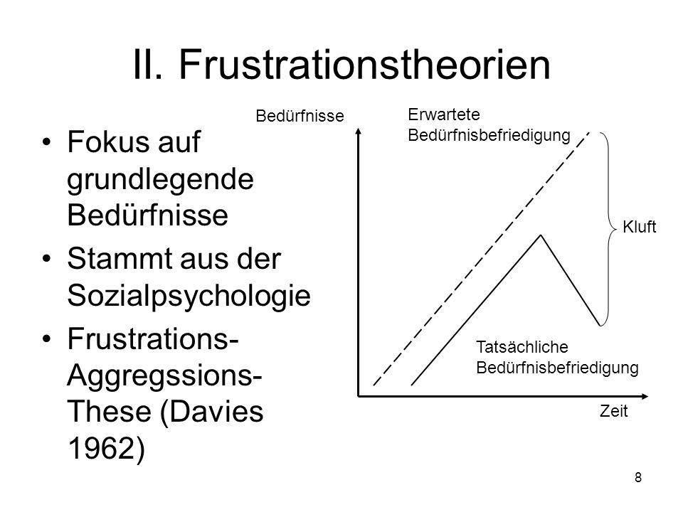 8 II. Frustrationstheorien Fokus auf grundlegende Bedürfnisse Stammt aus der Sozialpsychologie Frustrations- Aggregssions- These (Davies 1962) Bedürfn