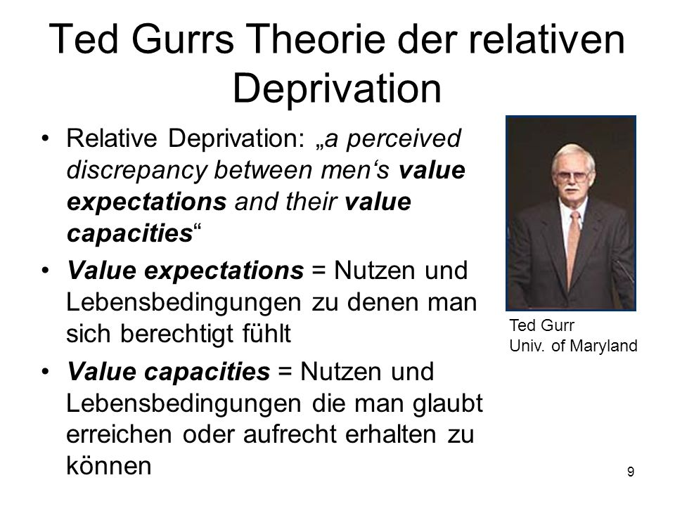 9 Ted Gurrs Theorie der relativen Deprivation Relative Deprivation: a perceived discrepancy between mens value expectations and their value capacities