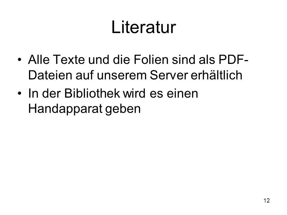 12 Literatur Alle Texte und die Folien sind als PDF- Dateien auf unserem Server erhältlich In der Bibliothek wird es einen Handapparat geben