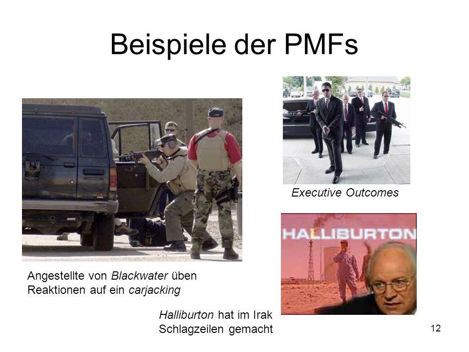 12 Beispiele der PMFs Angestellte von Blackwater üben Reaktionen auf ein carjacking Executive Outcomes Halliburton hat im Irak Schlagzeilen gemacht
