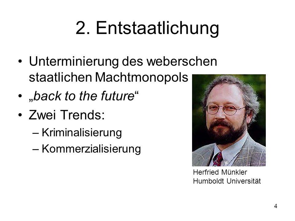 4 2. Entstaatlichung Unterminierung des weberschen staatlichen Machtmonopols back to the future Zwei Trends: –Kriminalisierung –Kommerzialisierung Her