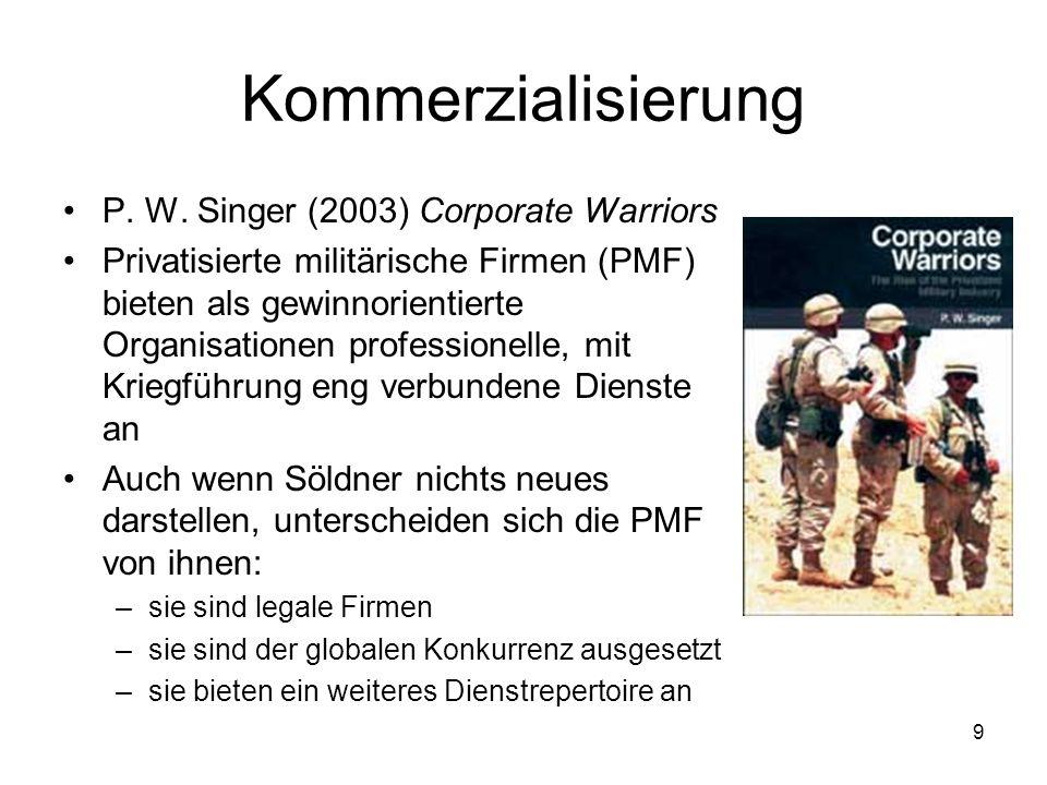9 Kommerzialisierung P. W. Singer (2003) Corporate Warriors Privatisierte militärische Firmen (PMF) bieten als gewinnorientierte Organisationen profes