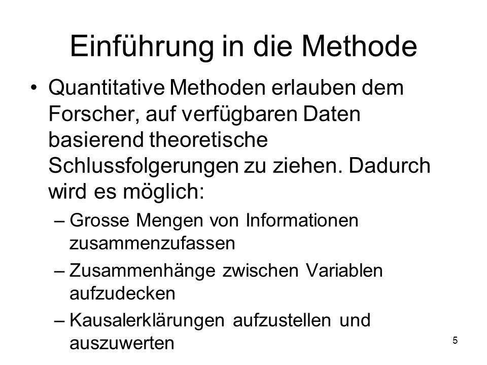 5 Einführung in die Methode Quantitative Methoden erlauben dem Forscher, auf verfügbaren Daten basierend theoretische Schlussfolgerungen zu ziehen.
