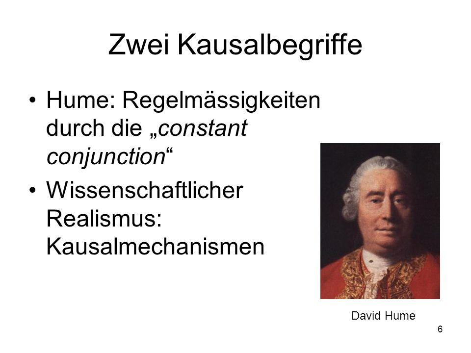 6 Zwei Kausalbegriffe Hume: Regelmässigkeiten durch die constant conjunction Wissenschaftlicher Realismus: Kausalmechanismen David Hume