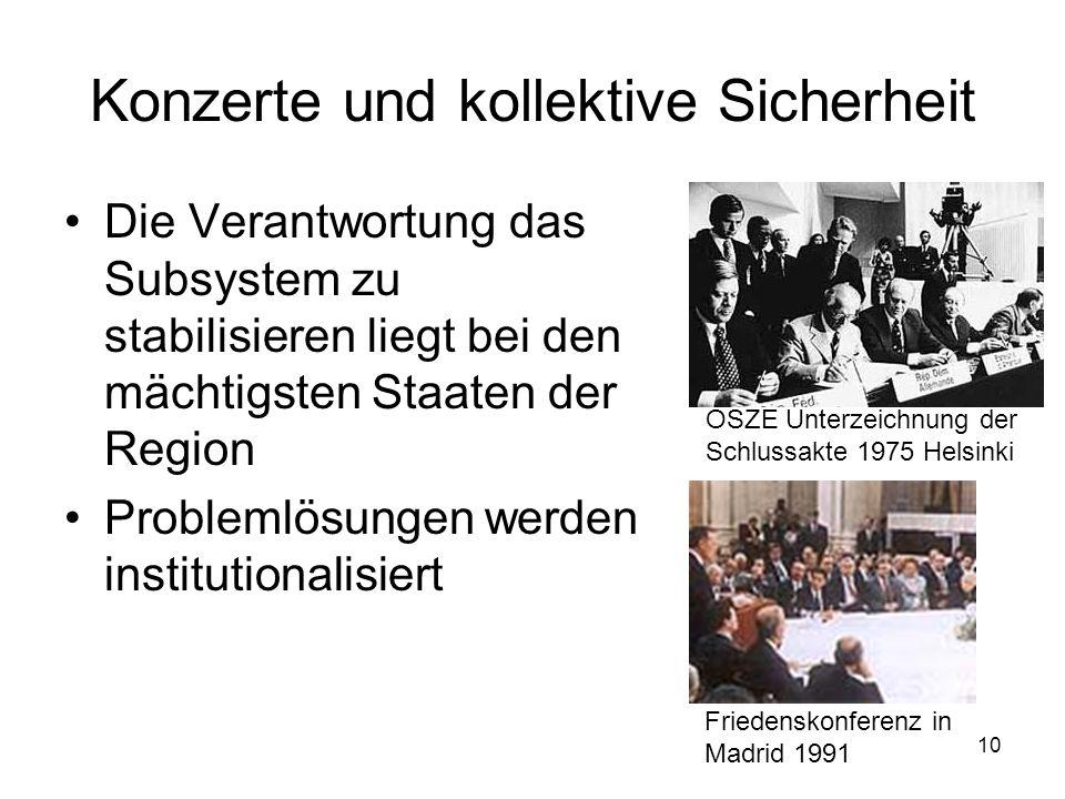 10 Konzerte und kollektive Sicherheit Die Verantwortung das Subsystem zu stabilisieren liegt bei den mächtigsten Staaten der Region Problemlösungen we