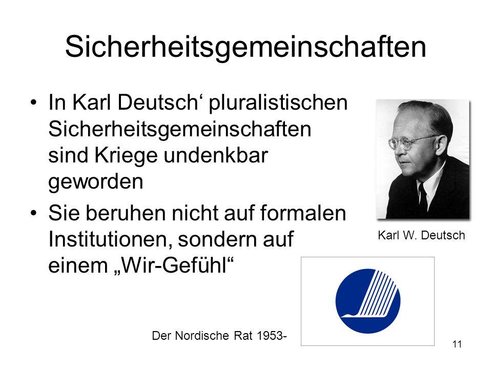 11 Sicherheitsgemeinschaften In Karl Deutsch pluralistischen Sicherheitsgemeinschaften sind Kriege undenkbar geworden Sie beruhen nicht auf formalen I