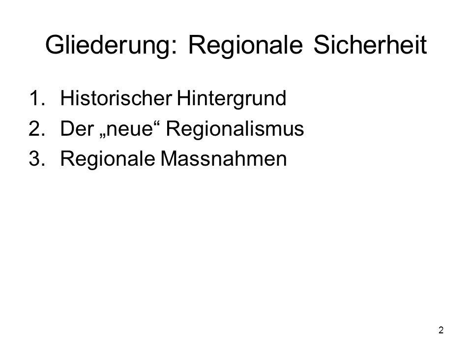 2 Gliederung: Regionale Sicherheit 1.Historischer Hintergrund 2.Der neue Regionalismus 3.Regionale Massnahmen