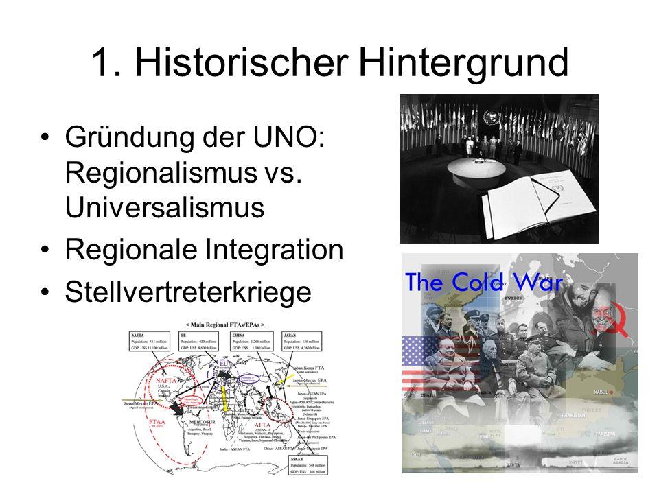 3 1. Historischer Hintergrund Gründung der UNO: Regionalismus vs. Universalismus Regionale Integration Stellvertreterkriege