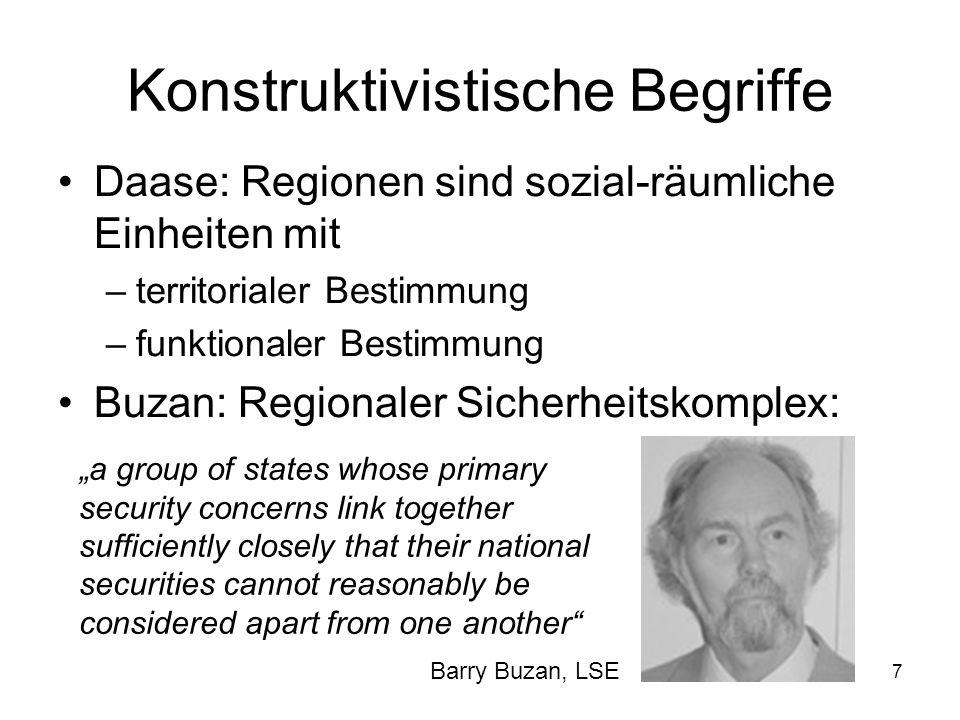 7 Konstruktivistische Begriffe Daase: Regionen sind sozial-räumliche Einheiten mit –territorialer Bestimmung –funktionaler Bestimmung Buzan: Regionale