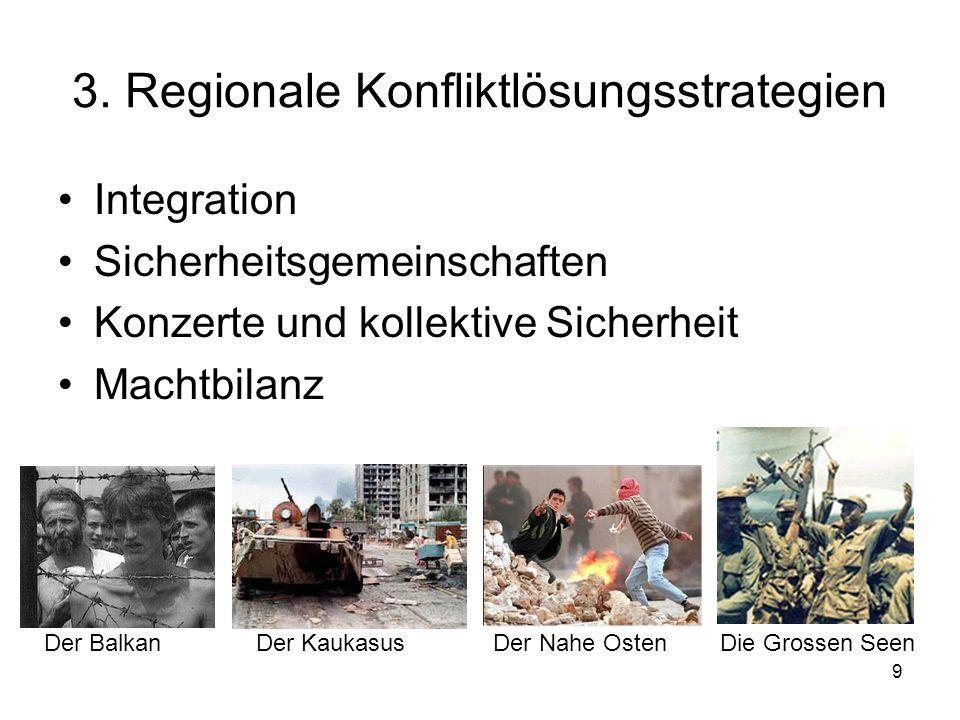 9 3. Regionale Konfliktlösungsstrategien Integration Sicherheitsgemeinschaften Konzerte und kollektive Sicherheit Machtbilanz Der Balkan Der Kaukasus