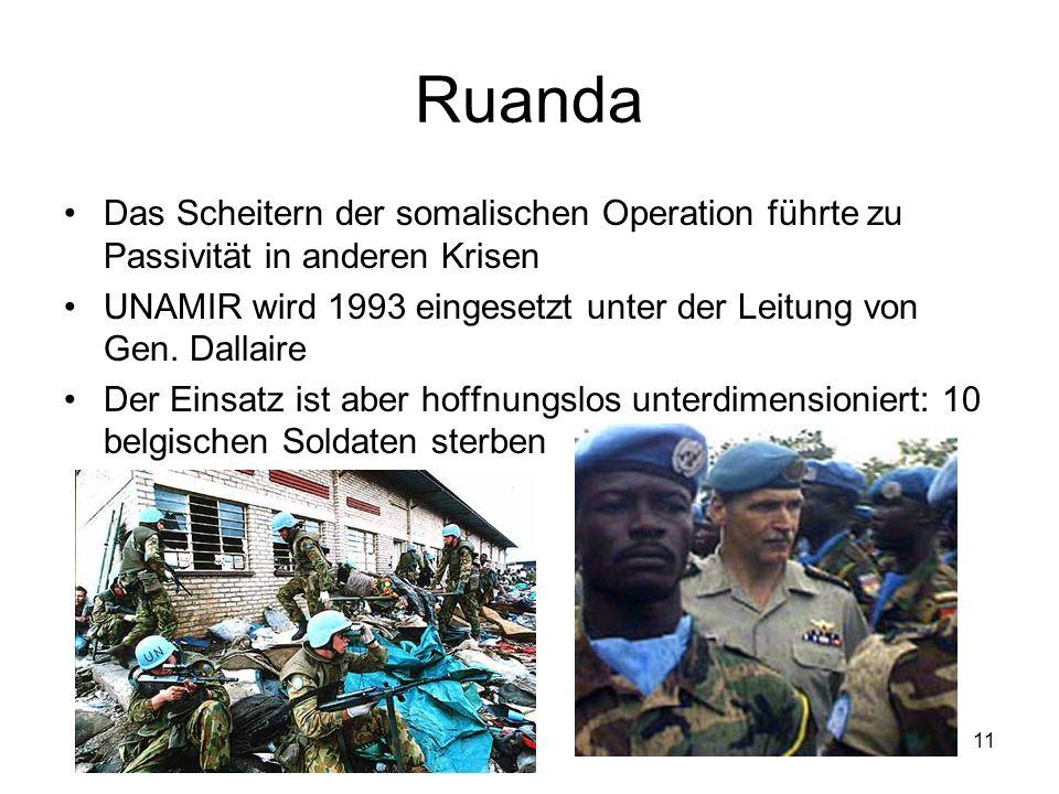 11 Ruanda Das Scheitern der somalischen Operation führte zu Passivität in anderen Krisen UNAMIR wird 1993 eingesetzt unter der Leitung von Gen.