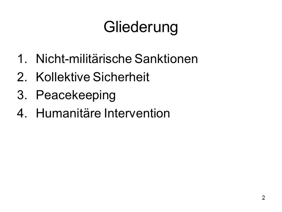 2 Gliederung 1.Nicht-militärische Sanktionen 2.Kollektive Sicherheit 3.Peacekeeping 4.Humanitäre Intervention
