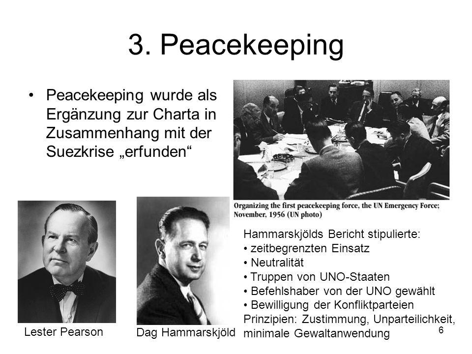 6 3. Peacekeeping Peacekeeping wurde als Ergänzung zur Charta in Zusammenhang mit der Suezkrise erfunden Lester Pearson Dag Hammarskjöld Hammarskjölds