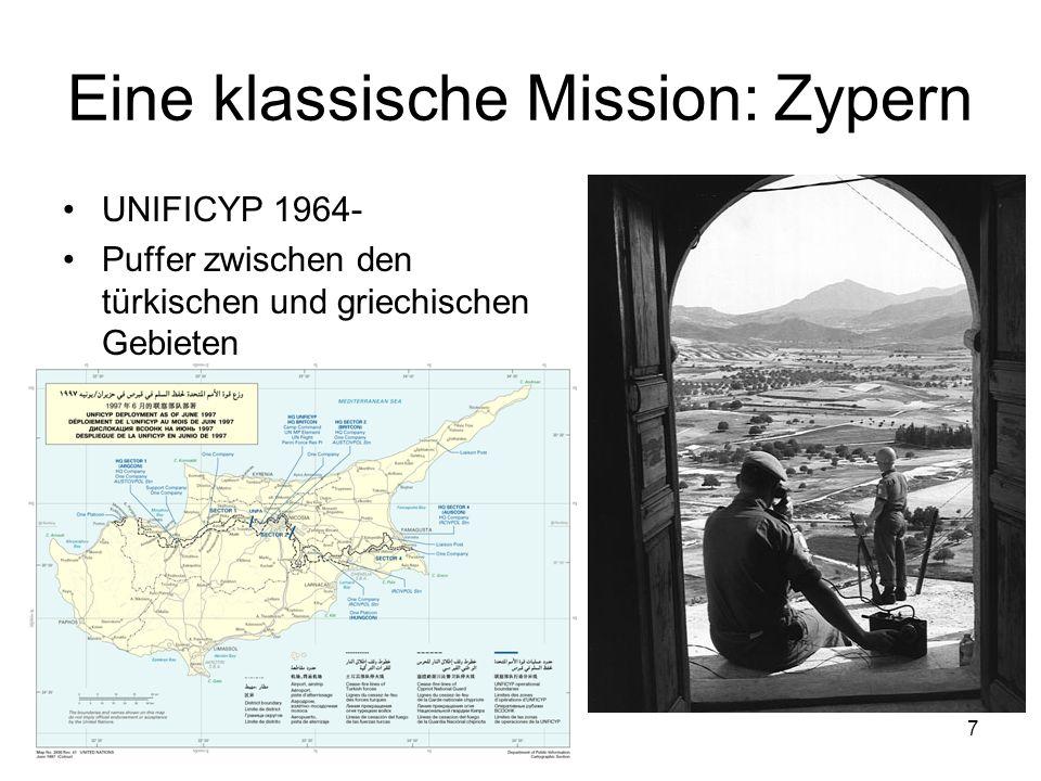 7 Eine klassische Mission: Zypern UNIFICYP 1964- Puffer zwischen den türkischen und griechischen Gebieten