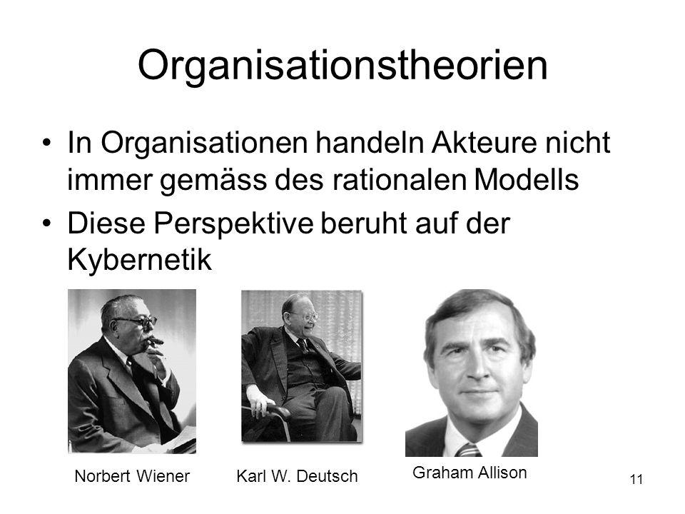 11 Organisationstheorien In Organisationen handeln Akteure nicht immer gemäss des rationalen Modells Diese Perspektive beruht auf der Kybernetik Norbe