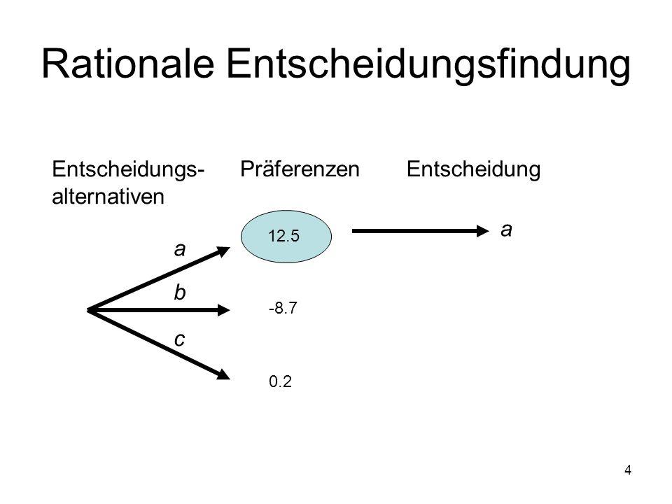 4 Rationale Entscheidungsfindung 12.5 -8.7 0.2 a b c Entscheidungs- alternativen PräferenzenEntscheidung a