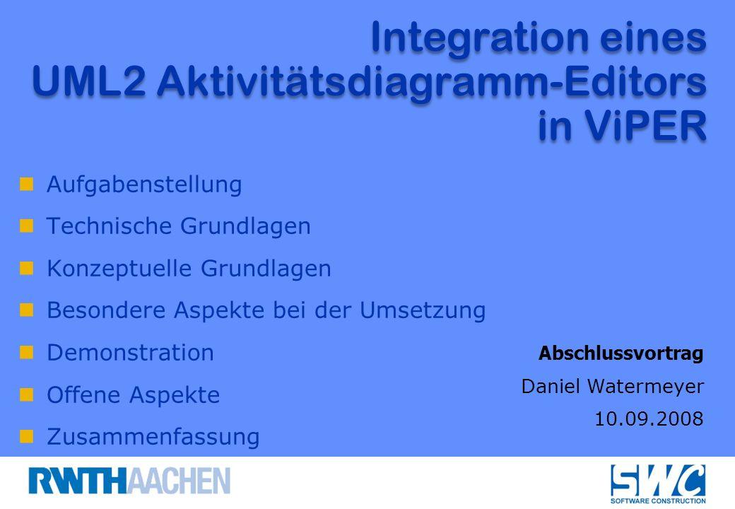 Aufgabenstellung Technische Grundlagen Konzeptuelle Grundlagen Besondere Aspekte bei der Umsetzung Demonstration Offene Aspekte Zusammenfassung Integration eines UML2 Aktivitätsdiagramm-Editors in ViPER Abschlussvortrag Daniel Watermeyer 10.09.2008