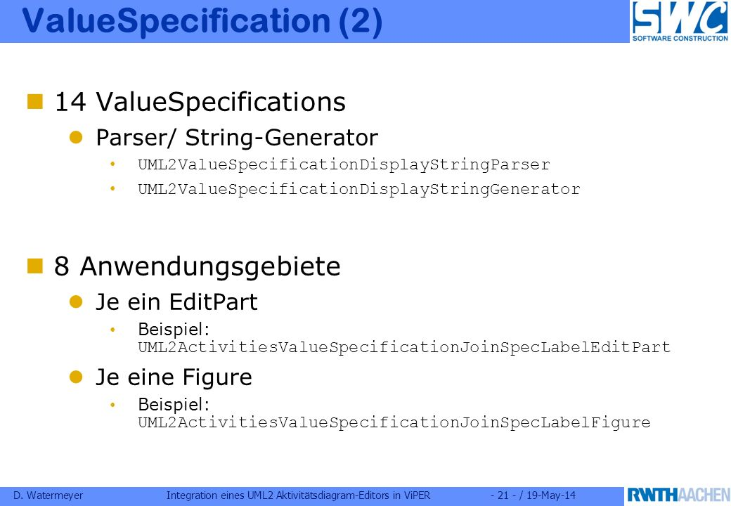 D. WatermeyerIntegration eines UML2 Aktivitätsdiagram-Editors in ViPER- 21 - / 19-May-14 ValueSpecification (2) 14 ValueSpecifications Parser/ String-