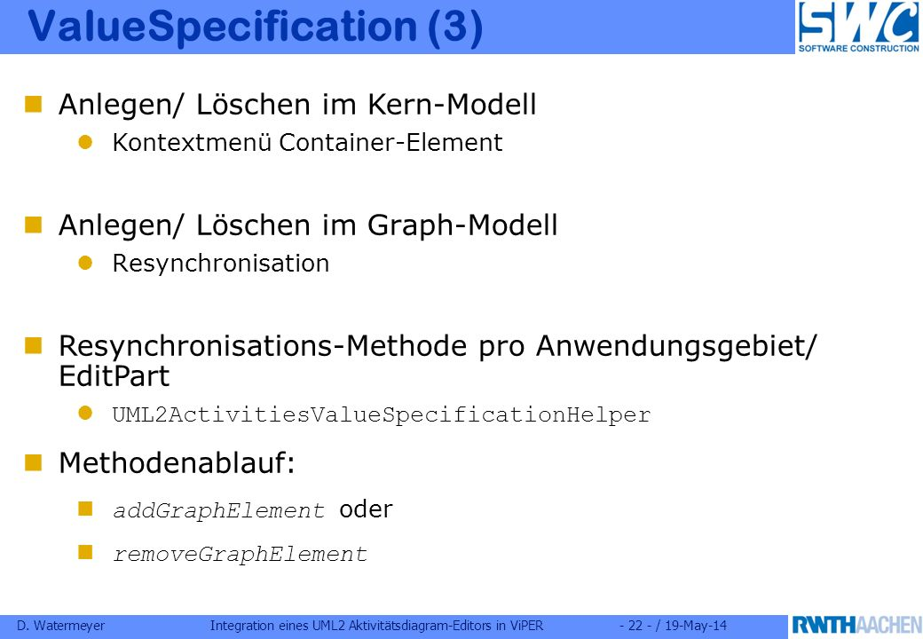 D. WatermeyerIntegration eines UML2 Aktivitätsdiagram-Editors in ViPER- 22 - / 19-May-14 ValueSpecification (3) Anlegen/ Löschen im Graph-Modell Resyn