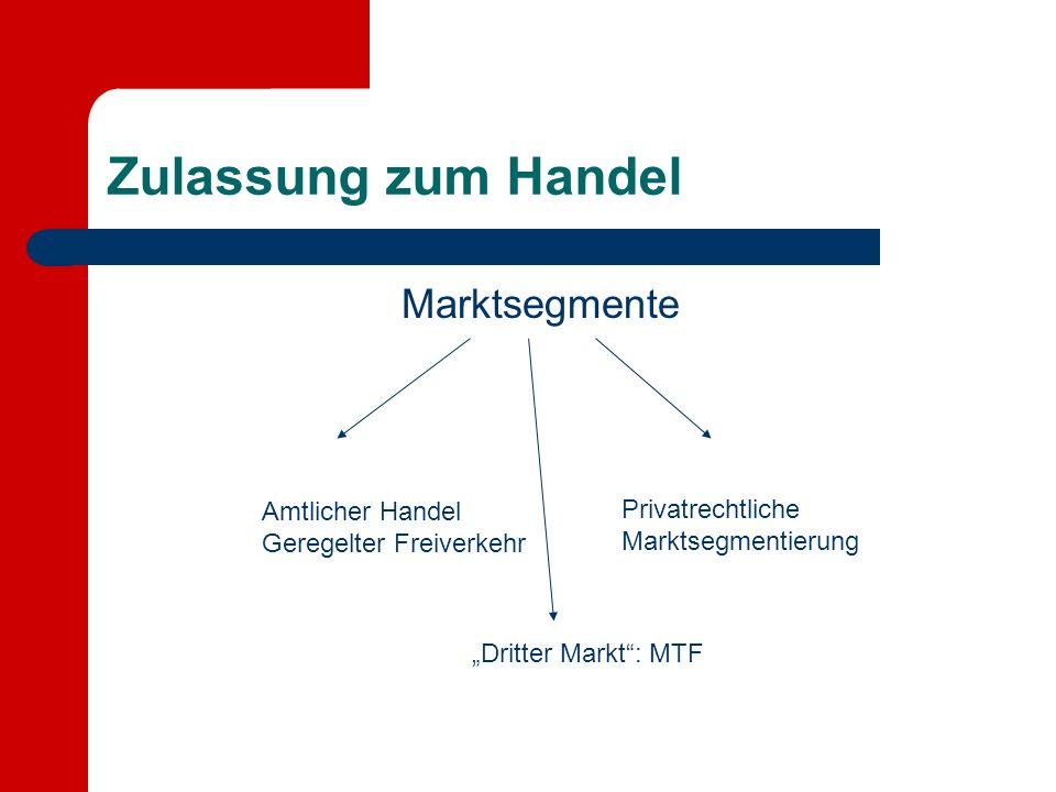 Zulassung zum Handel Marktsegmente Amtlicher Handel Geregelter Freiverkehr Privatrechtliche Marktsegmentierung Dritter Markt: MTF