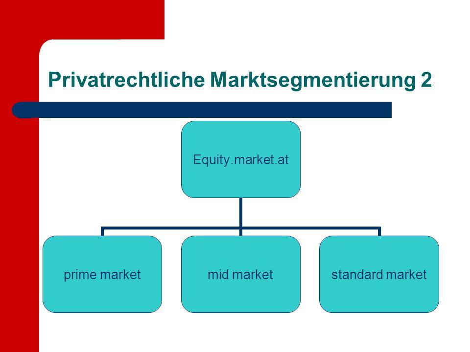 Privatrechtliche Marktsegmentierung 2 Equity.market.at prime marketmid marketstandard market