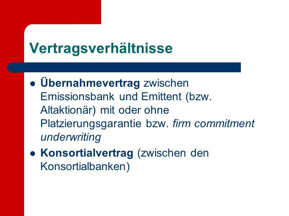Vertragsverhältnisse Übernahmevertrag zwischen Emissionsbank und Emittent (bzw. Altaktionär) mit oder ohne Platzierungsgarantie bzw. firm commitment u