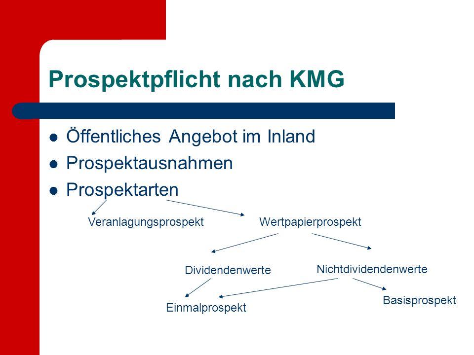 Prospektpflicht nach KMG Öffentliches Angebot im Inland Prospektausnahmen Prospektarten VeranlagungsprospektWertpapierprospekt Dividendenwerte Nichtdividendenwerte Einmalprospekt Basisprospekt
