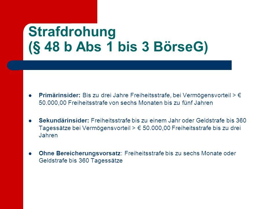 Strafdrohung (§ 48 b Abs 1 bis 3 BörseG) Primärinsider: Bis zu drei Jahre Freiheitsstrafe, bei Vermögensvorteil > 50.000,00 Freiheitsstrafe von sechs