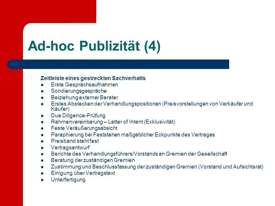 Ad-hoc Publizität (4) Zeitleiste eines gestreckten Sachverhalts Erste Gesprächsaufnahmen Sondierungsgespräche Beiziehung externer Berater Erstes Abste