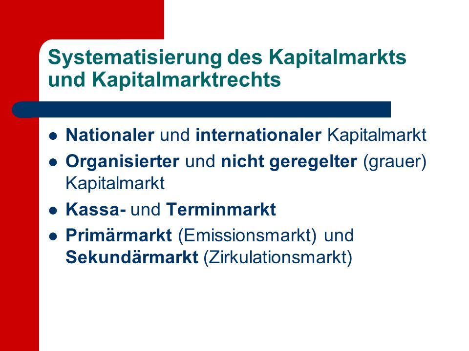 Systematisierung des Kapitalmarkts und Kapitalmarktrechts Nationaler und internationaler Kapitalmarkt Organisierter und nicht geregelter (grauer) Kapitalmarkt Kassa- und Terminmarkt Primärmarkt (Emissionsmarkt) und Sekundärmarkt (Zirkulationsmarkt)