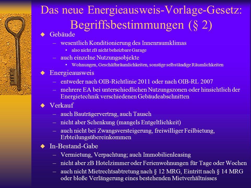 Das neue Energieausweis-Vorlage-Gesetz: Begriffsbestimmungen (§ 2) Gebäude –wesentlich Konditionierung des Innenraumklimas also nicht zB nicht beheizb