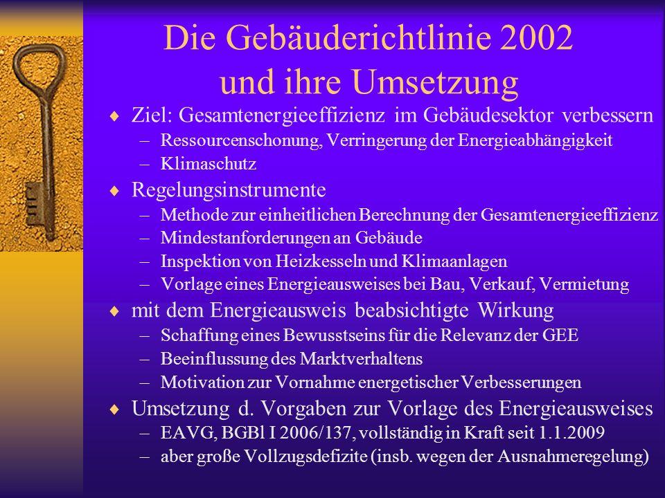 Die neue Gebäuderichtlinie RL 2010/31/EU vom 19.5.2010 –ABl L 153/13 vom 18.6.2010 Intention der Neufassung –Verbesserung der Effektivität des Regulativs –Beseitigung von Vollzugsdefiziten, mehr Leben Regelungsinstrumente –grundsätzlich wie bisher (nun auch Betrachtung der Kosten) –Festlegung von Anforderungen an gebäudetechnische Systeme –Schaffung von Niedrigstenergiegebäuden, finanzielle Anreize die wesentlichen Neuerungen beim Energieausweis –in Verkaufs- oder Vermietungsinseraten ist Energieindikator anzugeben –auch Aushändigung des Energieausweises explizit verlangt –Erleichterung für Einfamilienhäuser EA für repräsentatives ähnliches Gebäude kann herangezogen werden –Erleichterung für noch nicht errichtete Gebäude Einschätzung reicht zunächst aus bisherige Energieausweise behalten ihre Gültigkeit (10 Jahre)