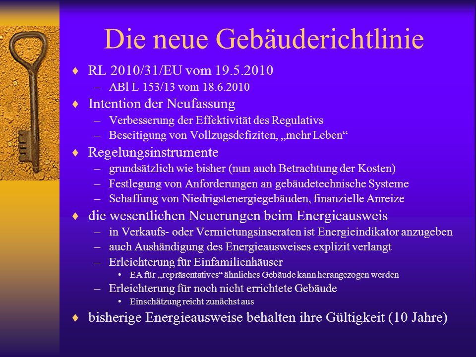 Die neue Gebäuderichtlinie RL 2010/31/EU vom 19.5.2010 –ABl L 153/13 vom 18.6.2010 Intention der Neufassung –Verbesserung der Effektivität des Regulat
