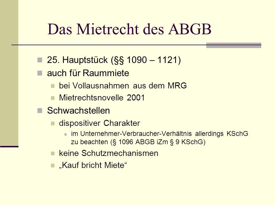 Das Mietrecht des ABGB 25. Hauptstück (§§ 1090 – 1121) auch für Raummiete bei Vollausnahmen aus dem MRG Mietrechtsnovelle 2001 Schwachstellen disposit