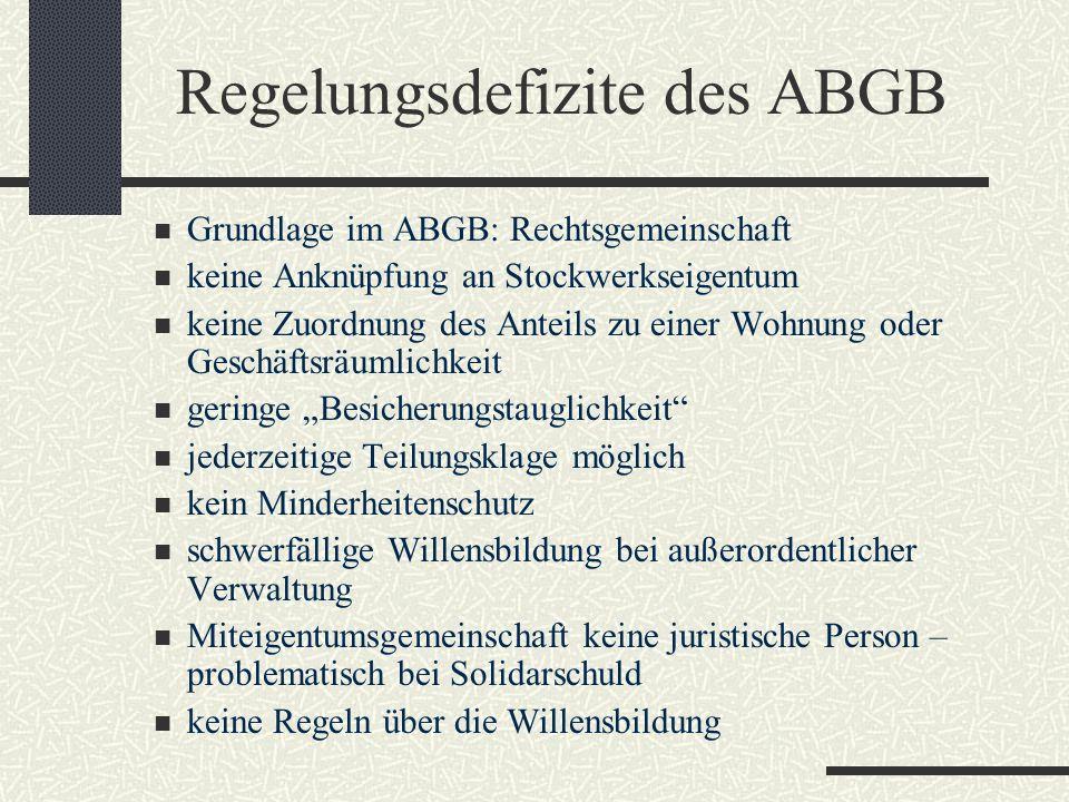 Regelungsdefizite des ABGB Grundlage im ABGB: Rechtsgemeinschaft keine Anknüpfung an Stockwerkseigentum keine Zuordnung des Anteils zu einer Wohnung o