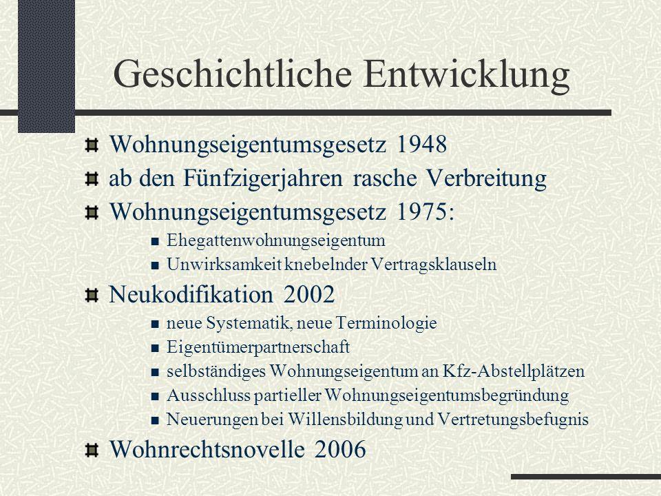 Geschichtliche Entwicklung Wohnungseigentumsgesetz 1948 ab den Fünfzigerjahren rasche Verbreitung Wohnungseigentumsgesetz 1975: Ehegattenwohnungseigen