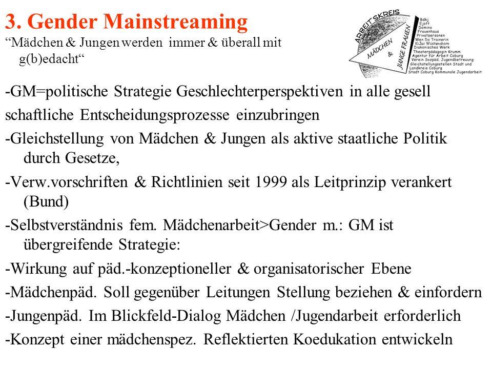 3. Gender Mainstreaming Mädchen & Jungen werden immer & überall mit g(b)edacht -GM=politische Strategie Geschlechterperspektiven in alle gesell schaft