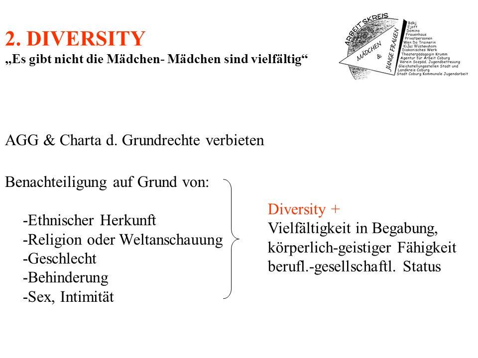 2. DIVERSITY Es gibt nicht die Mädchen- Mädchen sind vielfältig AGG & Charta d. Grundrechte verbieten Benachteiligung auf Grund von: -Ethnischer Herku