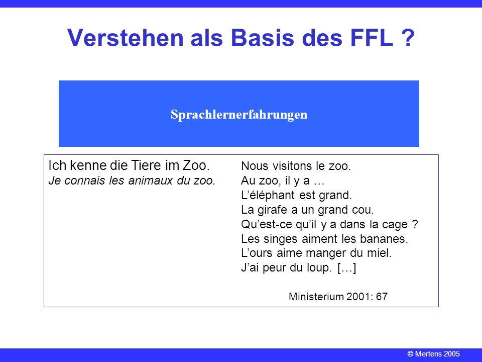 © Mertens 2005 Verstehen als Basis des FFL ? Sprachlernerfahrungen Ich kenne die Tiere im Zoo. Nous visitons le zoo. Je connais les animaux du zoo.Au