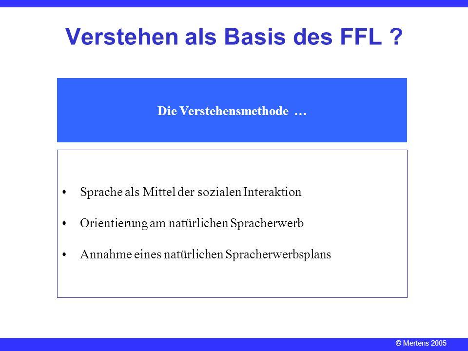 © Mertens 2005 Verstehen als Basis des FFL ? Die Verstehensmethode … Sprache als Mittel der sozialen Interaktion Orientierung am natürlichen Spracherw