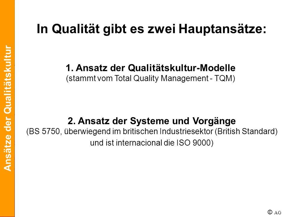 In Qualität gibt es zwei Hauptansätze: 2. Ansatz der Systeme und Vorgänge (BS 5750, überwiegend im britischen Industriesektor (British Standard) und i