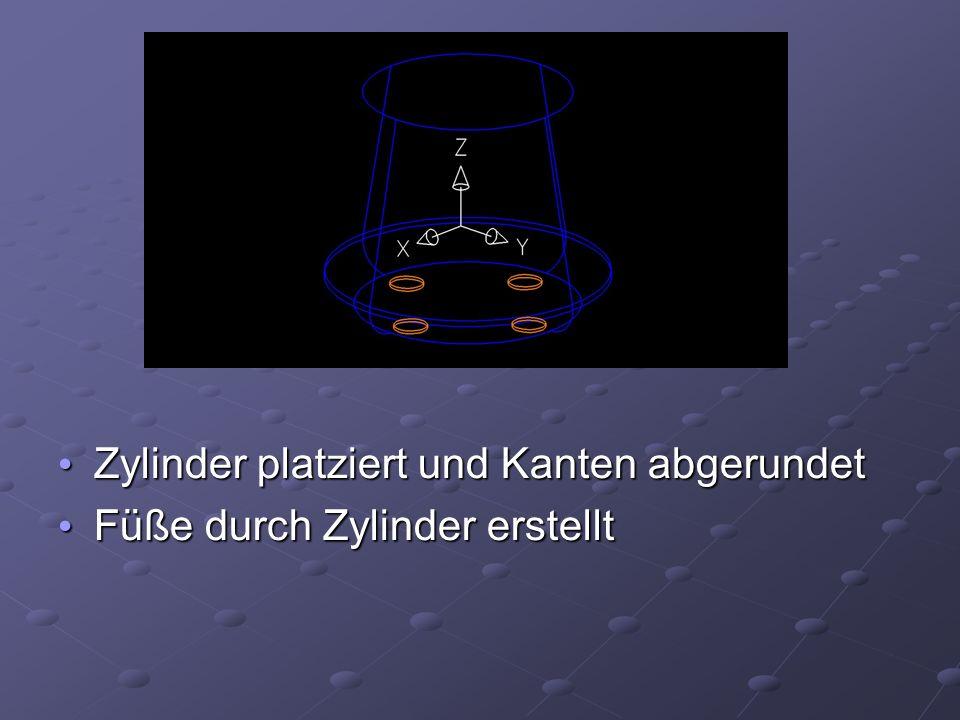 Zylinder platziert und Kanten abgerundet Zylinder platziert und Kanten abgerundet Füße durch Zylinder erstellt Füße durch Zylinder erstellt