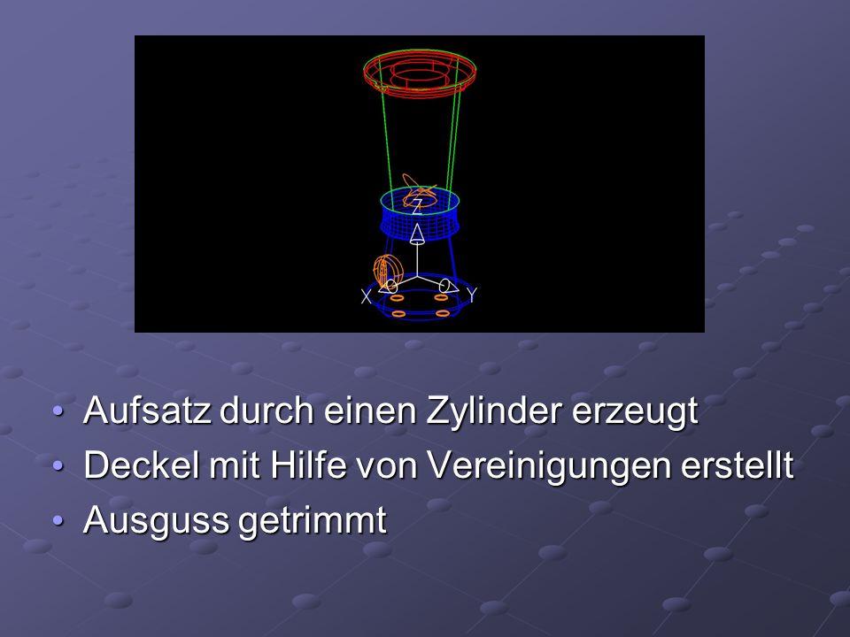 Aufsatz durch einen Zylinder erzeugt Aufsatz durch einen Zylinder erzeugt Deckel mit Hilfe von Vereinigungen erstellt Deckel mit Hilfe von Vereinigungen erstellt Ausguss getrimmt Ausguss getrimmt
