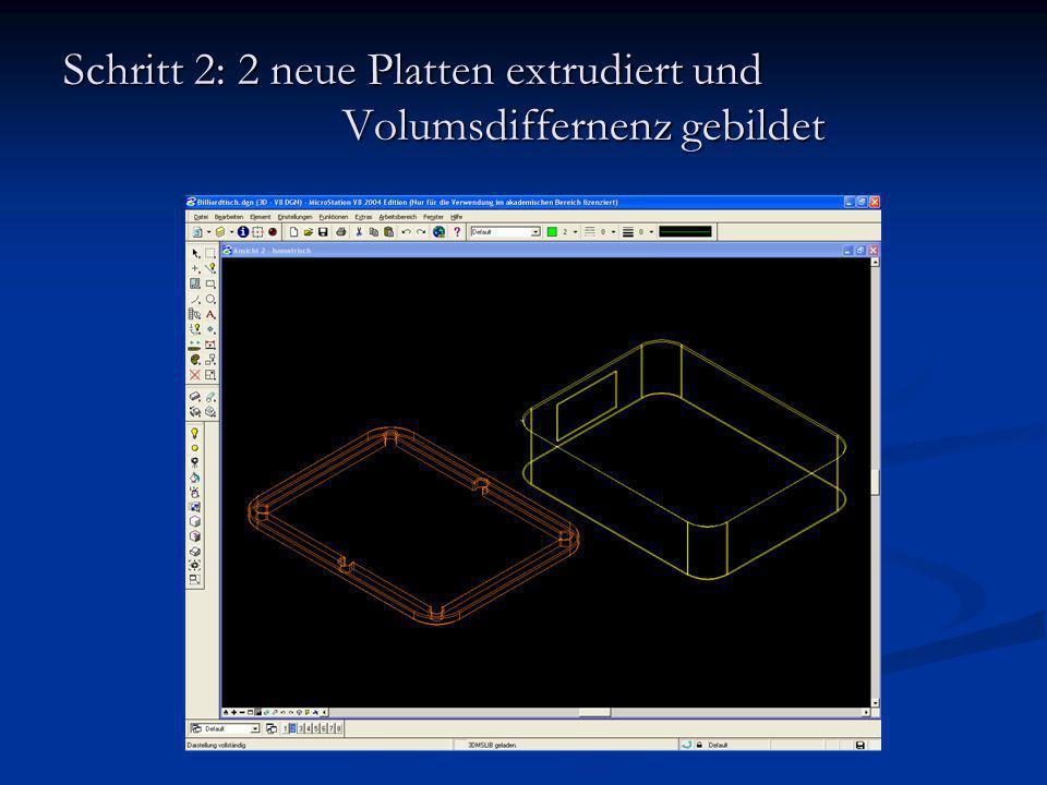 Schritt 2: 2 neue Platten extrudiert und Volumsdiffernenz gebildet