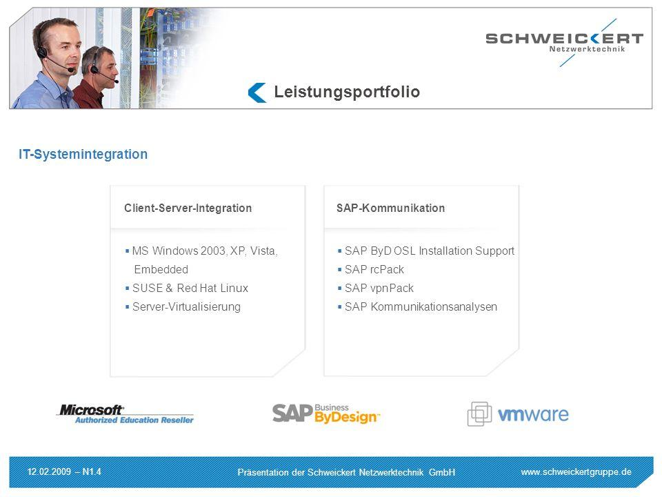 www.schweickertgruppe.de Präsentation der Schweickert Netzwerktechnik GmbH 12.02.2009 – N1.4 Leistungsportfolio IT-Systemintegration MS Windows 2003,