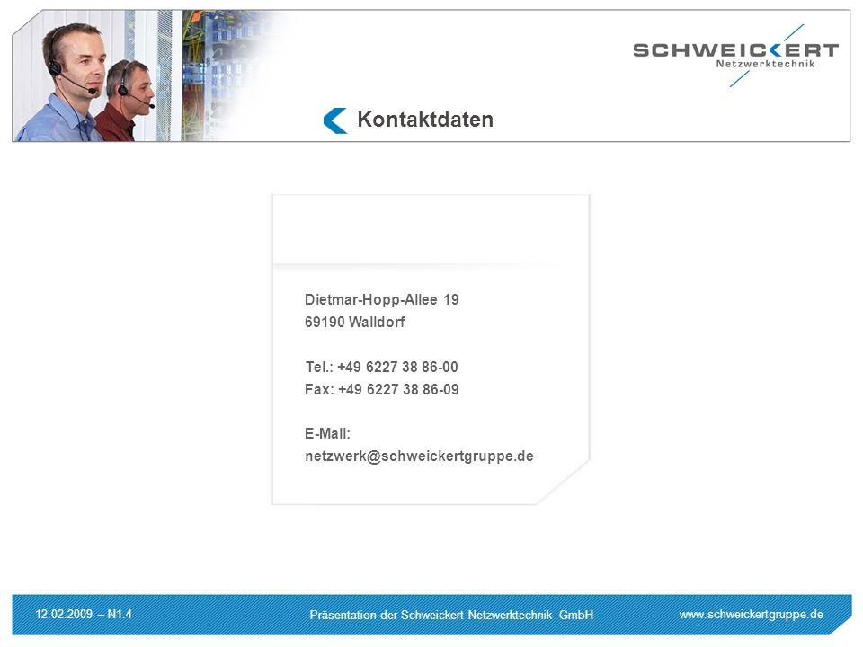 www.schweickertgruppe.de Präsentation der Schweickert Netzwerktechnik GmbH 12.02.2009 – N1.4 Kontaktdaten Dietmar-Hopp-Allee 19 69190 Walldorf Tel.: +