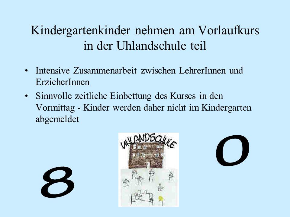Kindergartenkinder nehmen am Vorlaufkurs in der Uhlandschule teil Intensive Zusammenarbeit zwischen LehrerInnen und ErzieherInnen Sinnvolle zeitliche Einbettung des Kurses in den Vormittag - Kinder werden daher nicht im Kindergarten abgemeldet