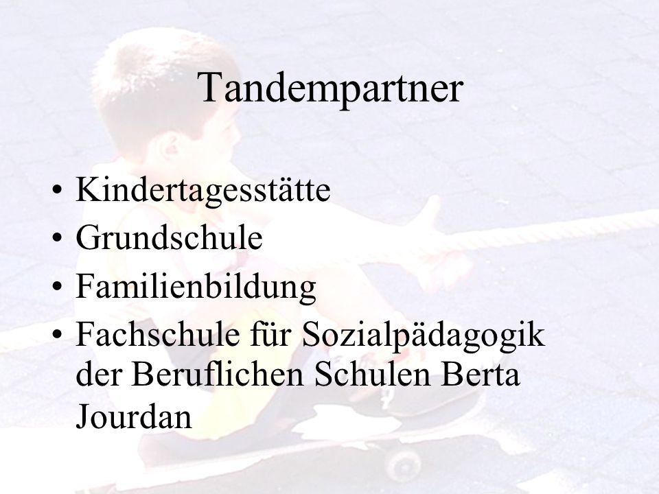 Tandempartner Kindertagesstätte Grundschule Familienbildung Fachschule für Sozialpädagogik der Beruflichen Schulen Berta Jourdan