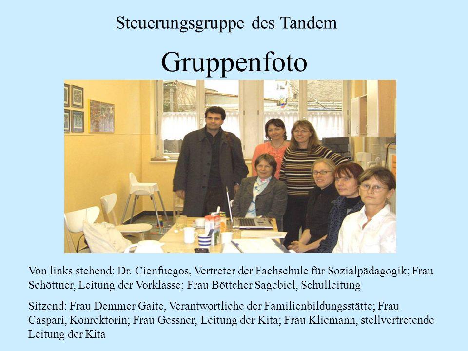 Gruppenfoto Steuerungsgruppe des Tandem Von links stehend: Dr. Cienfuegos, Vertreter der Fachschule für Sozialpädagogik; Frau Schöttner, Leitung der V